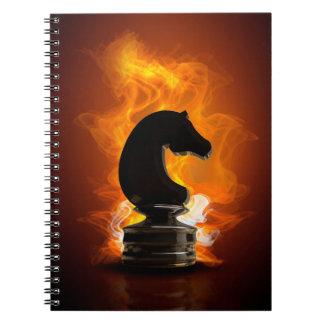 Carnet Chevalier d'échecs en flammes