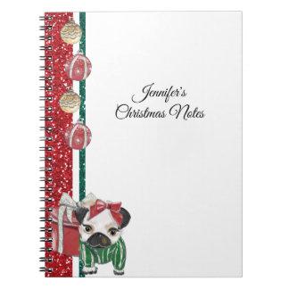 Carnet Chiot de Noël dans l'or rouge et le vert de PJs