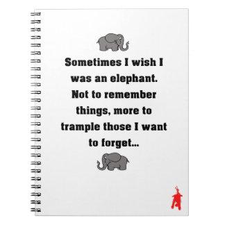 """Carnet chiot rouge """"parfois je souhaite… l'éléphant """""""