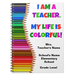 Carnet coloré personnalisé de professeur