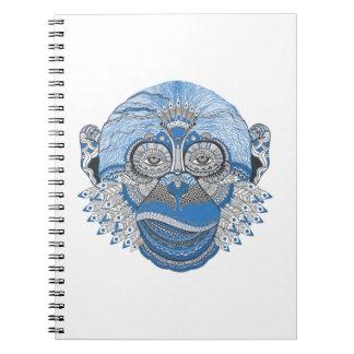 Carnet Conception bleue d'art de visage de singe