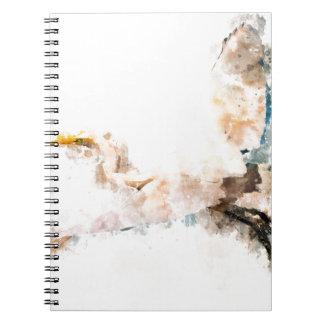 Carnet Conception d'aquarelle, vol d'oiseau de grue