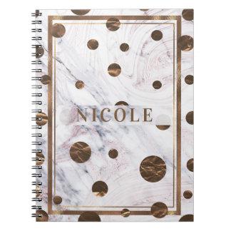 Carnet Contact du cuivre rose de bronze de marbre d'or