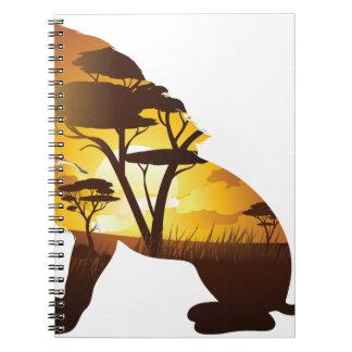 Carnet Coucher du soleil africain avec le lion