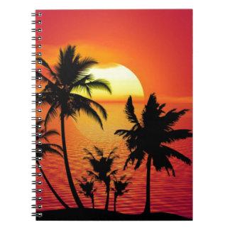 Carnet Coucher du soleil tropical de plage d'été de