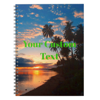 Carnet Coucher du soleil tropical d'île hawaïenne