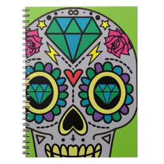 Carnet Crâne coloré génial abstrait de sucre