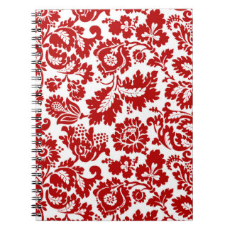 Carnet Damassé florale de William Morris, rouge-foncé et