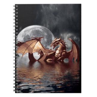 Carnet d'art d'imaginaire de dragon et de lune