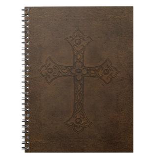 Carnet de cuir de relief de croix