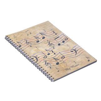 Carnet de journal avec des notes de musique