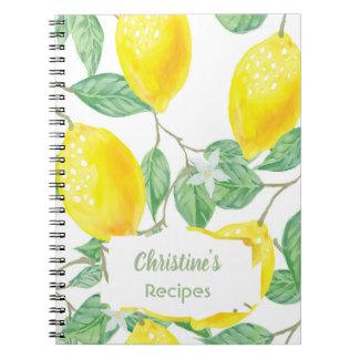 Carnet de livre de cuisine de recette de citrons