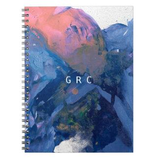 Carnet de monogramme - art abstrait rose bleu