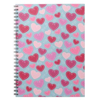 Carnet de notes à spirale de coeur de Valentine