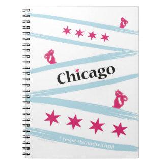 Carnet de notes à spirale de drapeau de Chicago