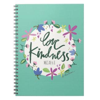 Carnet de notes à spirale de gentillesse d'amour