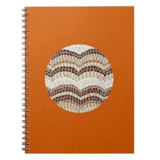 Carnet de notes à spirale de mosaïque beige ronde
