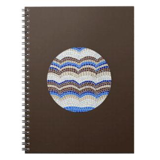 Carnet de notes à spirale de mosaïque bleue ronde