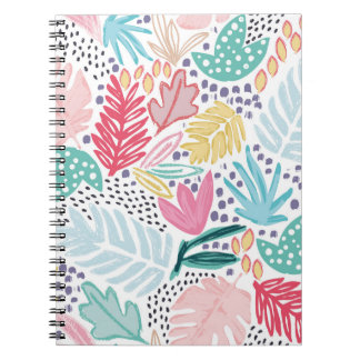 Carnet de notes à spirale de motif tropical coloré