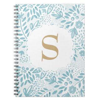 Carnet de notes à spirale personnalisé floral bleu