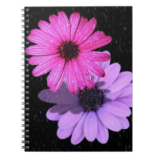 Carnet de photo de goutte de pluie de fleur