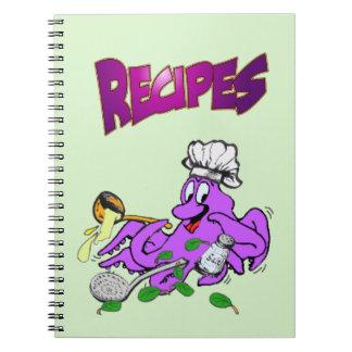 Carnet de photo de recette de cuisinier de poulpe