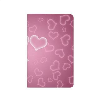 Carnet De Poche Amour, Romance, coeurs - rose pourpre blanc