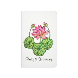 Carnet De Poche Aquarelle Lotus rose avec les bourgeons et le