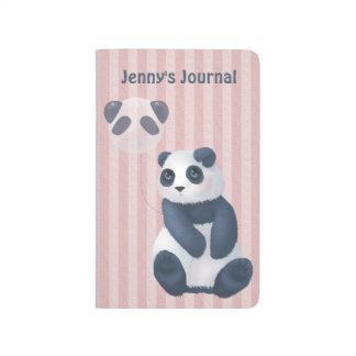 Carnet De Poche Ballon câlin de panda de rayure rose