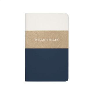 Carnet De Poche Bleu marine de cuir et d'or