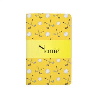 Carnet De Poche Boules de golf jaunes nommées personnalisées