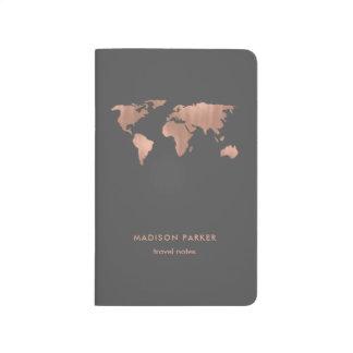 Carnet De Poche Carte rose du monde d'or de Faux sur le gris