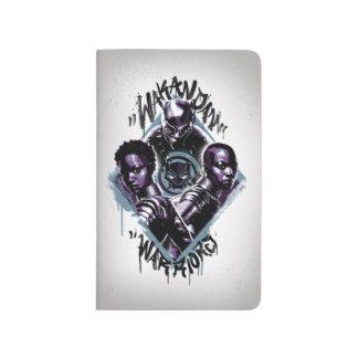 Carnet De Poche Graffiti de guerriers de la panthère noire |