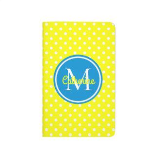 Carnet De Poche Jaune de soleil et monogramme bleu de point de
