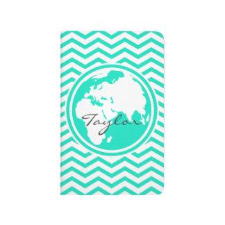 Carnet De Poche La terre ; Aqua Chevron vert