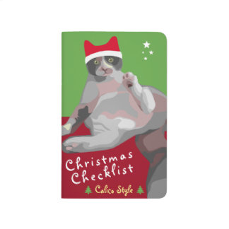 Carnet De Poche Liste de contrôle drôle de Noël de chat de calicot