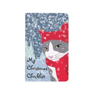 Carnet De Poche Liste de contrôle mignonne de Noël de chat