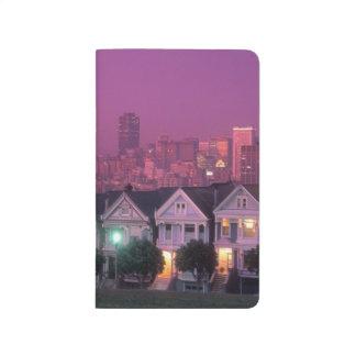 Carnet De Poche Maisons de rangée au coucher du soleil à San