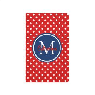 Carnet De Poche Monogramme de point de polka de rouge d'été et de