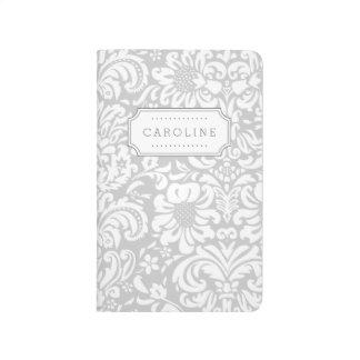 Carnet De Poche Monogramme floral gris de damassé