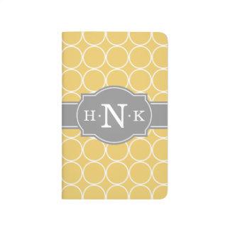Carnet De Poche Monogramme jaune Girly de gris de motif de cercle