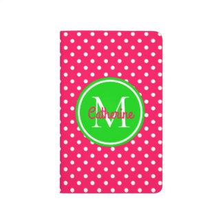 Carnet De Poche Monogramme rose et vert d'été lumineux de polka de