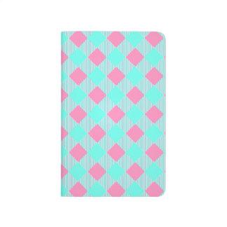 Carnet De Poche Motif à la mode rose et bleu chic de contrôle
