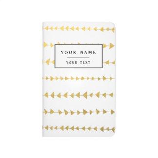 Carnet De Poche Motif blanc de flèches de feuille d'or de Faux