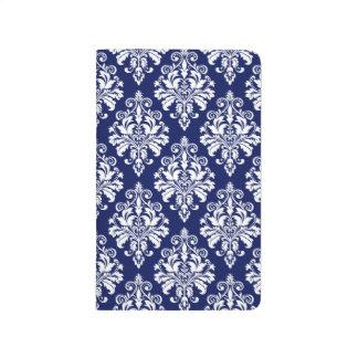 Carnet De Poche Motif élégant de damassé de bleu marine et de