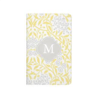 Carnet De Poche Motif floral gris jaune décoré d'un monogramme de