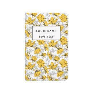 Carnet De Poche Motif floral vintage jaune et gris de Sunglow