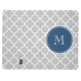 Carnet De Poche Motif gris de Quatrefoil, monogramme de bleu