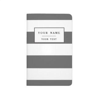 Carnet De Poche Motif moderne de rayures de blanc gris de charbon
