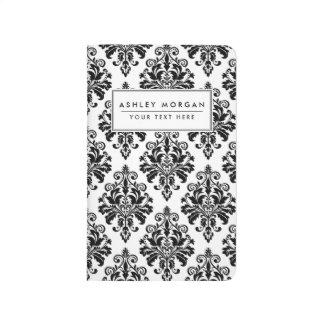 Carnet De Poche Motif noir et blanc élégant de damassé